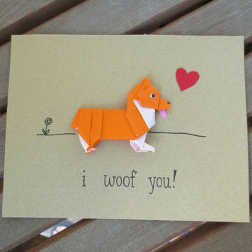 i woof you card, i love you card, dog love card, corgi card, shiba card, cute love card, corgi valentines, anniversary card, dog valentines