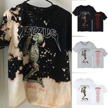2017 Kanye West Tour Yeezy Yeezus Prayer Print Cotton Short Sleeve T Shirts God Wants You Fear Of God Kanye West