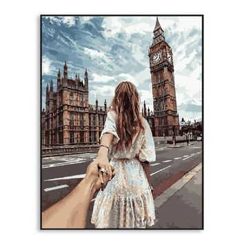 Sexy Girl DIY Painting By Numbers Romantic Home Decoration London Wall Art Handpainted Oil Painting For Living Room Gift SZH-455