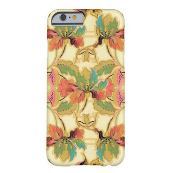 Vintage Turquoise Orange Floral Wallpaper Pattern Barely There iPhone 6 Case