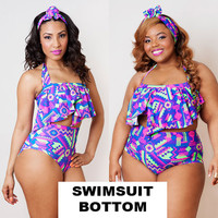 Bright Aztec Serengeti Swimsuit Bottom S M L 1X 2X 3X
