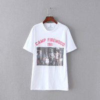 White Letter Picture Print T-shirt
