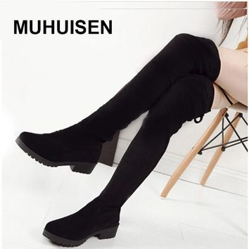 Women Boots 2016 Autumn Winter Ladies Fashion Slim Flat Heel Leather Boots Shoes Over