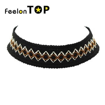 Choker Necklace Outfits  Punk Rock Gothic Geometric Pattern Black Rope