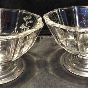 #0044 Higbee pair of vintage clear glass bowls  1940's