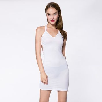Sexy Plunging Neck Solid Color Bodycon Sleeveless Dress For Women