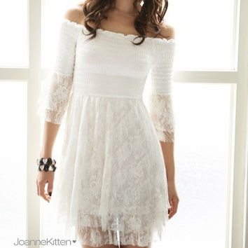 Women Strapless cutout white lace off shoulder half sleeve liner dress = 5709684801