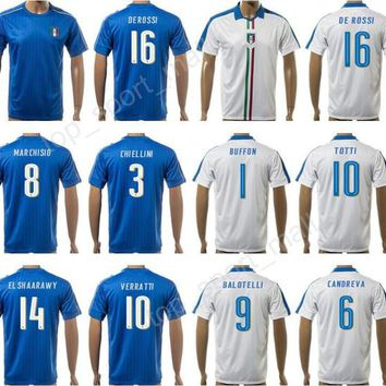 2017 Italy Soccer Jersey Italia Football Shirt Personalized National Team Thai 10 TOTTI 18 MONTOLIVO 29 DE SIL VE STRI 30 RANOCCHIA 17 EDER