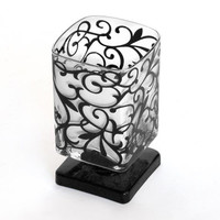 "Votive Candle Holder or Small Vase - Glass Pedestal with Swirl Flourish 4"" x 2"""