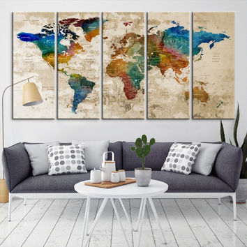 34985 - Large Wall Art World Map Canvas Print- Custom World Map Push Pin Wall Art- Custom World Map Canvas Poster Print- Personalized Wall Art