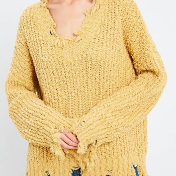 Distressed Hem Popcorn Yarn Knit V-Neck Sweater - Mustard