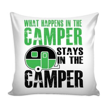 Graphic RV Pillow Cover What Happens In The Camper Stays In The Camper