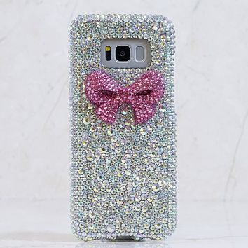 3D Pink Bow with Aurora Borealis Crystals Design (Style 862)