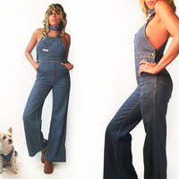 Vintage RARE 1970's GWG Levi's Fitted Bell Bottom Denim Overalls || Fitted Bellbottoms Flares Jean Jumpsuit  || Size Small || Size 2 to 4