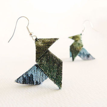 Lamé origami earrings mermaid colors green and teal