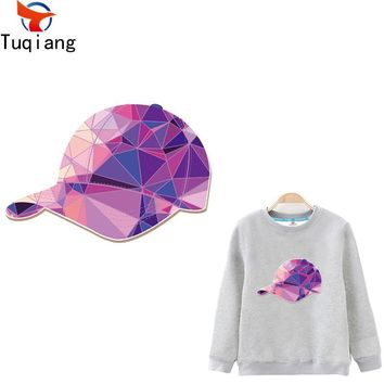 Trendy Pink Laser geometric diamond cap  patch Diy T-shirt Hoodies and denim jacket thermal transfer patches for clothes 17*11.6CM AT_94_13