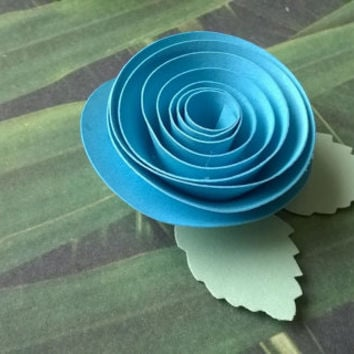 aqua blue rose boutonniere groomsman pin back groom paper flower lapel brooch bridal party bridal shower wedding reception family favors