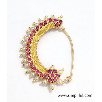 Traditional CZ stone and Pearl Nose Ring - For pierced nose