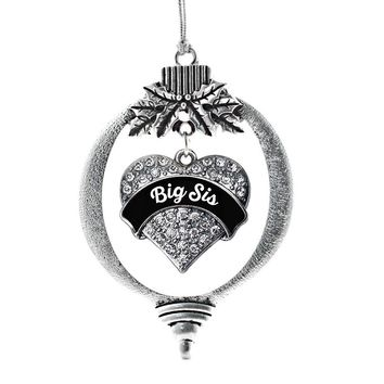 Black and White Big Sister Pave Heart Charm Holiday Ornament