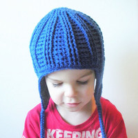 Royal Blue Crochet Earflap Beanie Hat with fleece lining, toddlers 12-24 months, ready to ship.