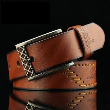 Fashion Sewing Thread Embellished Letter Pattern Pin Buckle PU Belt For Men - Brown