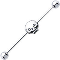 Surgical Steel Hollow Skull Industrial Project Bar 37mm | Body Candy Body Jewelry
