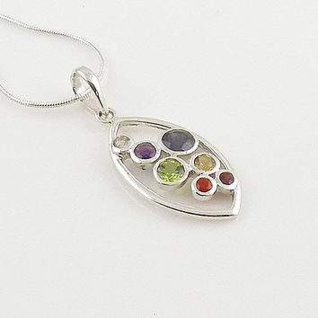 Chakra Marquee Sterling Silver Pendant