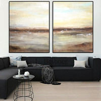 Large Abstract Art XXL Landscape Artwork Oil Painting Diptych Set of 2 Umber Sand Contemporary Design Painting by L.Beiboer