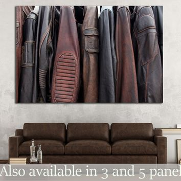 Collection of leather jackets on hangers №1880