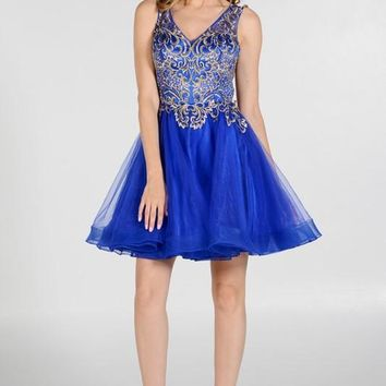 Royal blue gold leaf embroidered bodice homecoming dress Poly#7982