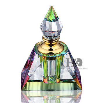 3ML Rainbow Vintage Pyramid Aurora Borealis Crystal Refillable Woman Perfume Bottle Empty Container w/gold Trim Glass Dauber
