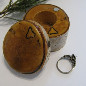 Wood ring box Tooth Fairy box made from a birch branch.