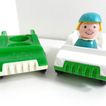 LUCKY SALE Vintage Fisher Price Little People Multi Car with Girl Boy Toy Lot