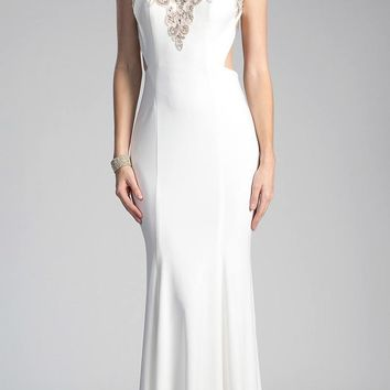 Beaded Cap Sleeved Long Formal Dress Cut-Out Back Off White
