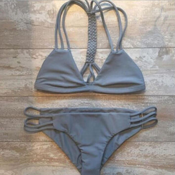 Hollow Out Solid Color V-Neck Sexy Bikini Set Swimsuit Free Shipping !