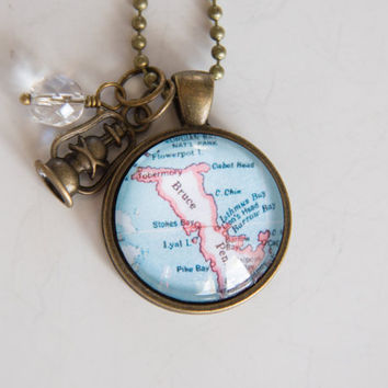 Map of Bruce Peninsula Necklace - Tobermory Northern Ontario - Georgian Bay - Map Pendant - Travel Jewelry - Custom City Jewelry Souvenir