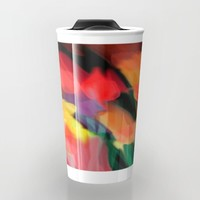 Meadow Flowers At Night Abstract Travel Mug by Jen Warmuth Art And Design