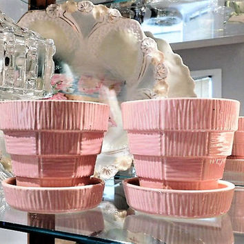 Pair Pink McCoy Flower Pot Planters 1950s Mid Century Cottage Home Decor Garden Beach House Country Farm Farmhouse Spring Summer Gardening