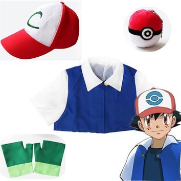 High Quality 4 Pcs Set  Ash Ketchum Trainer Cosplay Costume Men Suit With Jacket Gloves Hat  Poke Ball Pikachu ClothesKawaii Pokemon go  AT_89_9
