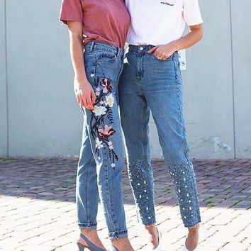 Embroidery Floral Pants Jeans