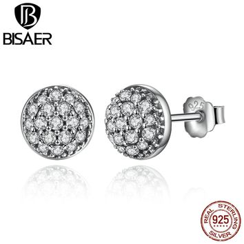 BISAER Delicate 100% 925 Sterling Silver Dazzling Droplets Clear CZ Small Stud Earrings  Jewelry WEUS488