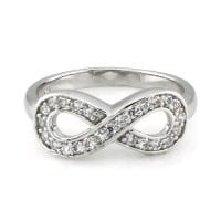 Sz 8 Sterling Silver Cubic Zirconia Infinity Symbol CZ Wedding Band Ring