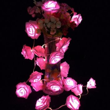 Parties 2M 20LED Rose LED String Lights Battery Wedding Birthday Decorative Flowers Wreaths