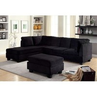FOA 2 pc Lomma collection contemporary style black flannelette fabric upholstery sectional sofa