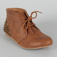 Qupid Shuffle-12 Studded Spike Lace Up Ankle Bootie
