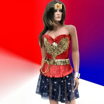 1940s Wonder Woman Corseted Costume by TheBohemianGoddess on Etsy