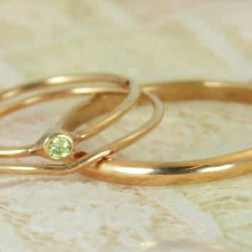 Tiny Solid 14k Rose Gold Peridot Wedding Ring Set
