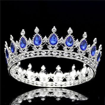 Baroque Queen King Diadem Tiara Crown Women large Prom Bridal Wedding Tiaras and Crowns head Jewelry Hair Accessories