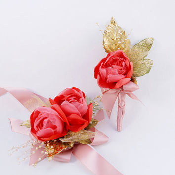 Wedding Boutonniere Coral and Gold Wrist Bridal Corsage