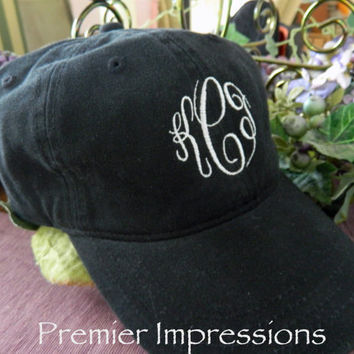 Hats, Monogrammed Baseball Caps. 25 COLOR HATS AVAILABLE with your Initials.  Great running cap or knock-around cap.